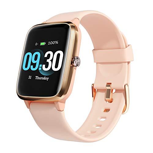 AIORX Smartwatch, Relojes Inteligentes Mujer Impermeable, Pulsera Actividad Inteligente con Pulsómetro Cronómetro Presión Arterial Monitor de Sueño para Android iOS - Rosa