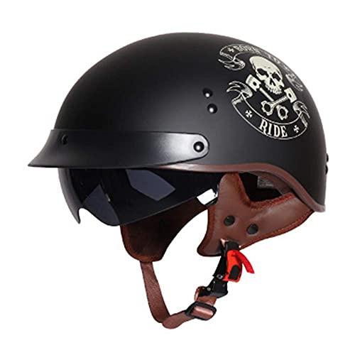 NZGMA Mezzo Casco da Motociclista, Casco Unisex-Adulto a faccia Aperta Casco da Motocross per Giovani Skull, approvato Dot/ECE