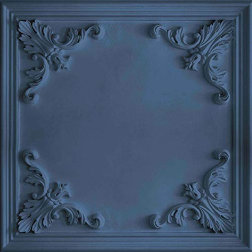 Arthouse 942503 Wallpaper 942503-3D Effect Ornate Carved Wood Wall Panel, Navy Blue