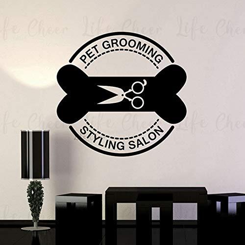 Geiqianjiumai Peluquería para Mascotas Logo Vinilo Pared Tienda de Mascotas decoración Perro Gato Forma 60 cm x 57 cm