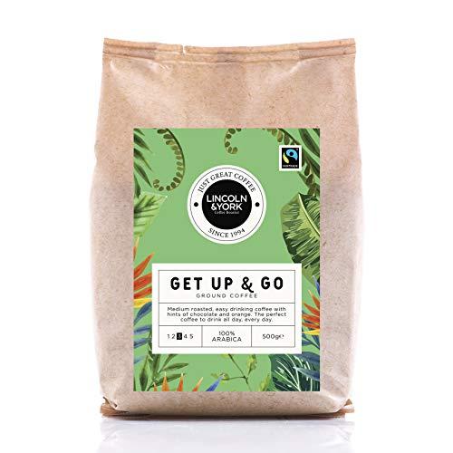 Lincoln & York Get Up & Go, 100% Arabica, South America & Ethiopian Medium Roast Ground Coffee, Fairtrade, 500g