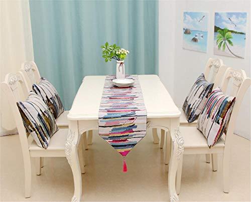Hinleise Tischläufer, Tischdecke – mit farbigen Streifenmuster, Tischdecke für Tischmatte, Esszimmer, Partymöbel, Dekoration - 3
