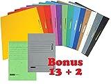 15 Brunnen Schnellhefter Pappe extrastark - Bonus Pack bunt - 13 + 2 Stück bzw. Farben im Pack - für Schule, Job, Büro und zu Hause (13 + 2er Bonus Pack, Sortiert)