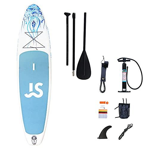 Tabla de remo inflable de 335 x 82 x 15 cm, ultraligera (8,5 kg) para todos los niveles de habilidad, para jóvenes y adultos y niños, kit completo de surf SUP con accesorios, carga máxima de 220 kg