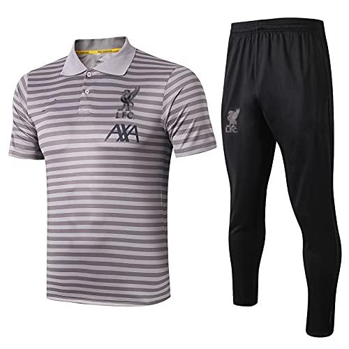 European England Men's Football Club Fútbol De La Ropa Deportiva De La Ropa Deportiva De La Camiseta Gris Uniforme (Camiseta + Pantalones) -pol-b1519(Size:Grande,Color:Gris)