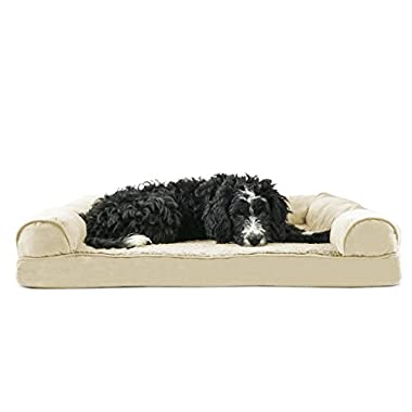 FurHaven Orthopedic Ultra Plush & Velvet Sofa-Style Couch Pet Bed for Dogs and Cats, Clay, Large