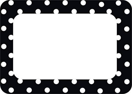 Teacher Created Resources Black Polka Dots Name Tags (5538)