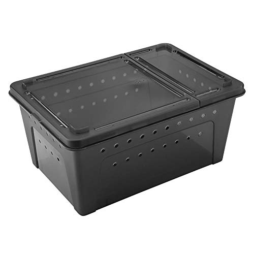 HEEPDD Reptile Breeding Box, Transparent Plastic Ventilated Feeding Box Reptile Cage Hatching Container for Turtle Lizard Spider Scorpion(Black)