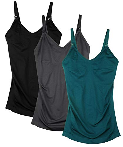 DAISITY Seamless Nursing Tank Tops for Women Breastfeeding Maternity Cami Bra Pack of 3 Color Black Grey Green