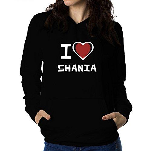 Teeburon I Love Shania Sudadera con Capucha para Mujer