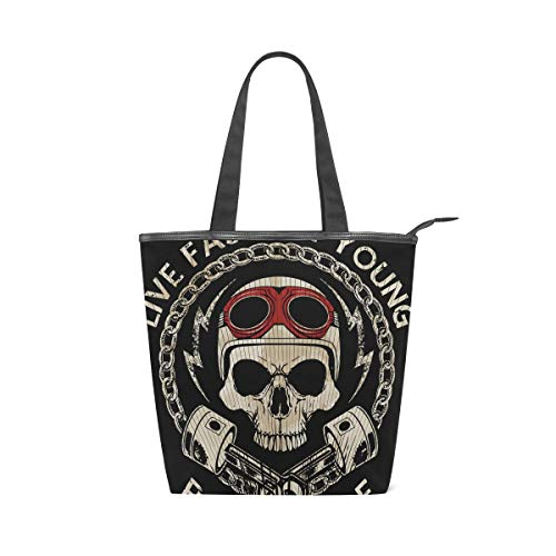 Mnsruu Bolso grande de lona para playa, bolsa de hombro de compras, diseño retro de calavera y bicicleta de la vieja escuela, bolso de verano para mujeres y niñas