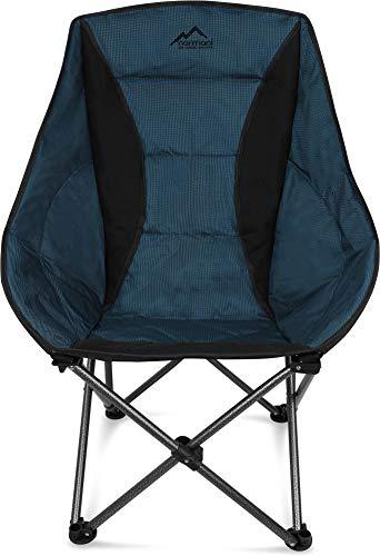 normani Deluxe Campingsessel Relaxsessel XXL Moonchair Schalensitz- Comfort Camping-Stuhl - Gepolsterter Outdoor Klappstuhl, Traglast: 150 Kg (330 lbs) Farbe Dunkelblau