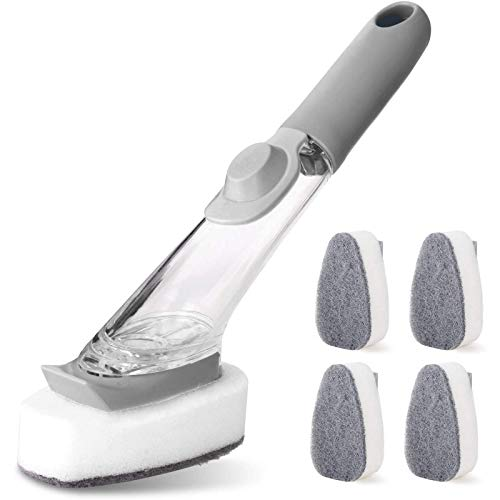 Soap Control Dishes Wand Scrub Brush 1 Dishes Wands and 4 Refill Replacement Sponges Heads Kitchen Cleaning Sponges