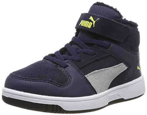 Puma Unisex-Kinder Rebound Layup Fur SD V PS Sneaker, Blau Peacoat High Rise NRGY Yellow White 03, 12 EU