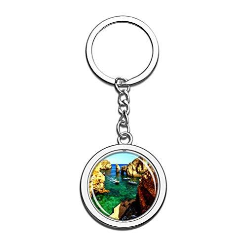 Llavero de Portugal Lagos Coast Algarve, recuerdo de cristal, cadena de acero inoxidable, regalo de viaje
