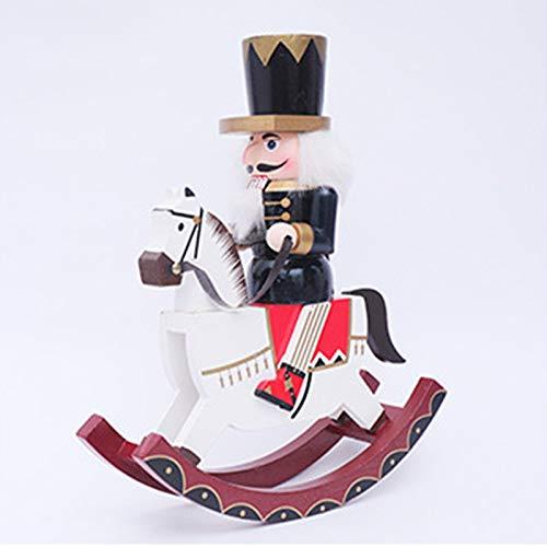 YNE Christmas Decorations, Rocking Horse Nutcracker, Home Furnishing Store Window Desk Decoration, Horse-Riding Soldier Doll