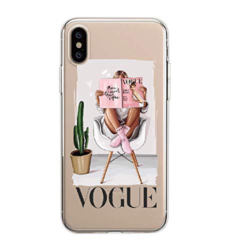 EWUEJNK iPhone 11 Handyhülle,Vogue Girl Persönlichkeit Transparent Silikon Phone Case, Anti-Shock Proof Kratzfest Volle Schutzwirkung, Für Das iPhone 11/11/11 Por Por Max, iPhone 11 Pro Max