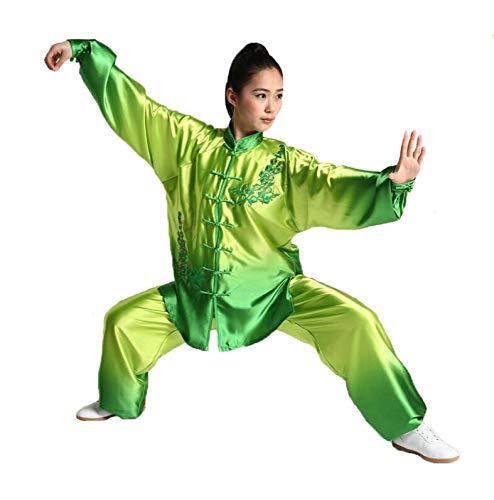 ssr Damen Herren Tai Chi Anzug Seide Langarm Tai Chi Uniform Wing Chun Shaolin Kung Fu Trainingsanzug Tai Chi Performance Bekleidung,Green-XXL
