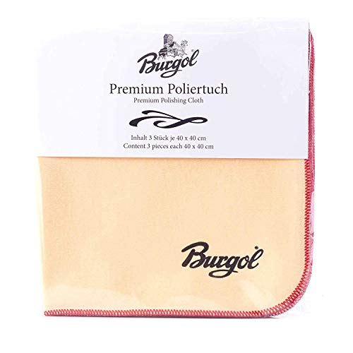 Burgol Premium Poliertuch im 3er-Set, Beige, 40 x 40 cm