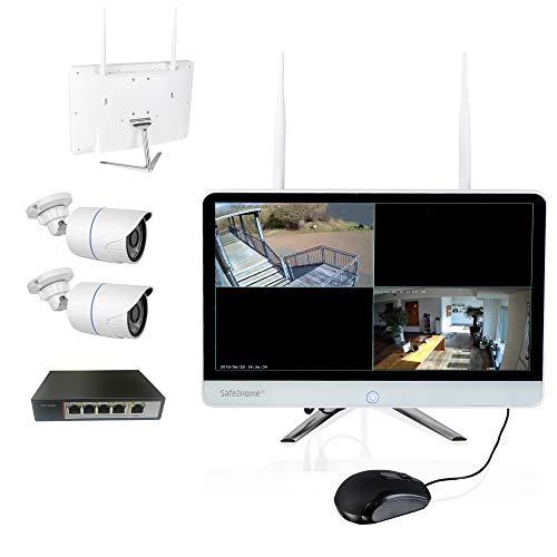 Safe2Home Videoüberwachung POE/Funk mit Aufzeichnung - 4 Kanal Rekorder Set deutsch 2X Full HD POE Cam Nachtsicht – Kamera Monitor Überwachungskamera innen außen