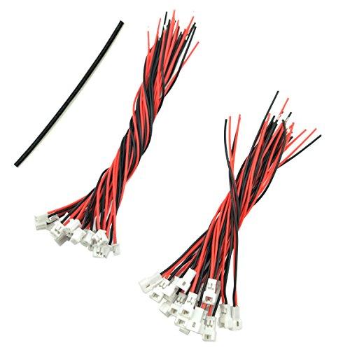 WOSKY 20 Paare 1,25 mm JST 2 Pin Mikro Elektronik Männlichen und Weiblichen Steckverbinder Stecker mit 8 cm/10 cm Draht Kabel