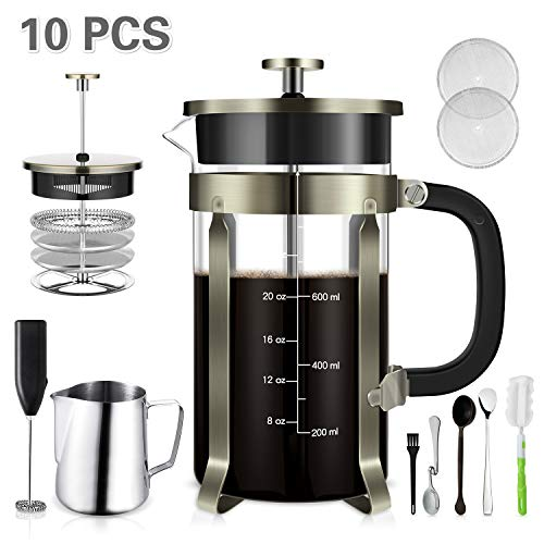 TAIKER French Press Coffee/Tea Maker(34 oz,8 cups) Heat Resistant Glass Stainless Steel Frame with Milk Frother,7 oz Frothing Pitcher,Stirring Spoon,Clean Brush & 2 Filter Screens (Bronze)