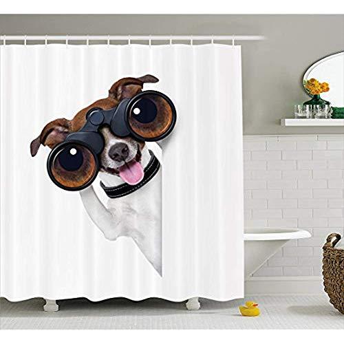 Yeuss Lustiger Duschvorhang, Fernglas Hund suchen suchen Wissenschaft Welpen Karriere Vision Erfolg Comic Bild,Stoff Badezimmer Dekor Set mit Haken,braun weiß 60'x72'