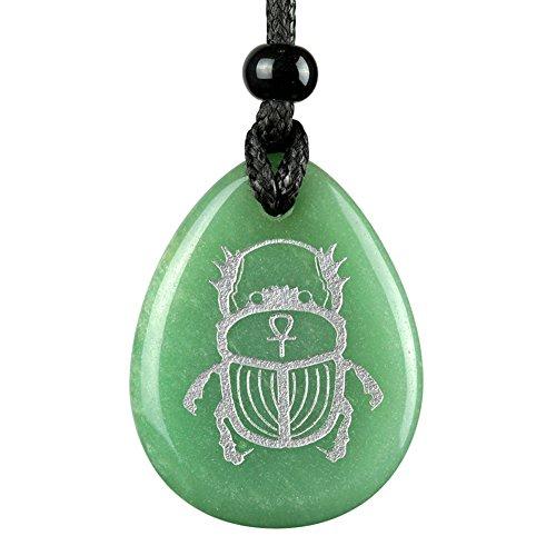 BestAmulets Amulet Egyptian Scarab Rebirth Ankh Life Powers Green Quartz...