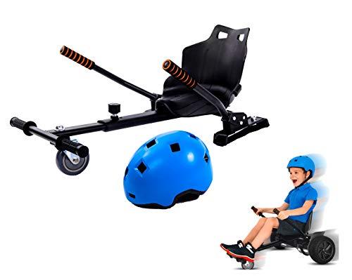 Securia Pro Hoverboard Sitz - Erweiterung für 6, 5-10 Zoll, Hoverboard Kart + Geschenk Skatehelm für Kinder (Blauer Helm)