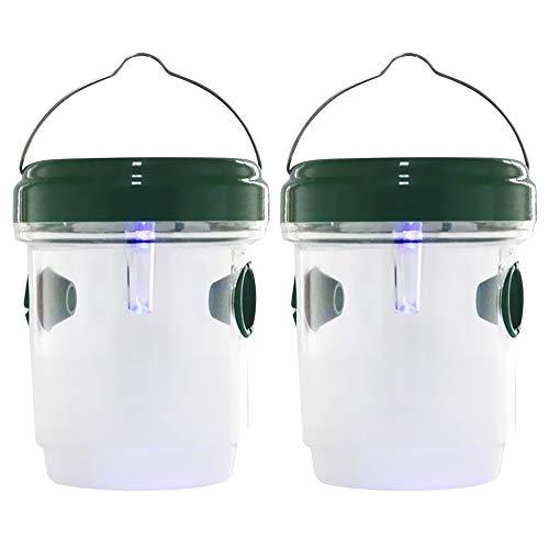 Drosophila Trap - Trampa para moscas, avispas y mosquitos solares LED Fly Traps Outdoor Wasp (2 unidades)