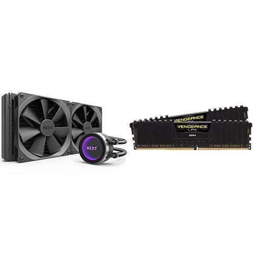 NZXT RL-KRX62-02 Kraken X62 280mm All-in-one Water/Liquid CPU Cooling w/Corsair Vengeance LPX 16GB (2x8GB) DDR4 DRAM 3000MHz C15 Desktop Memory Kit - Black