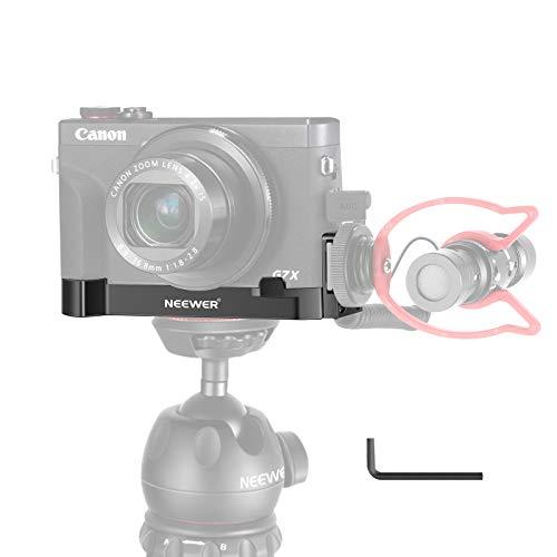 "Neewer G7X Mark III Soporte Montaje de Base de Cámara Compatible con Cámaras Canon G7X Mark II y III, con Micrófono/Soporte de Extensión de Zapata Fría Ligera, Soporte de Trípode inferior de 1/4"" Vlog"