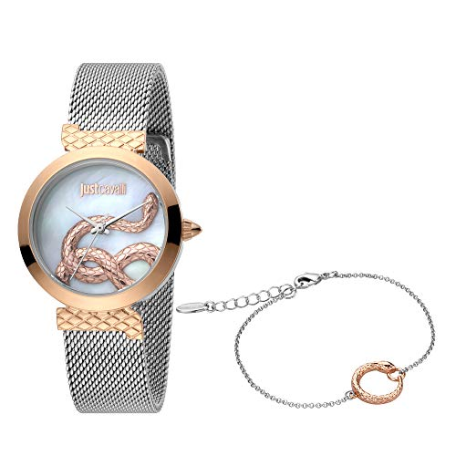 Just Cavalli Damen-Armbanduhr Creazione 2 Analog Quarz Set inkl. Armband JC1L091M0095