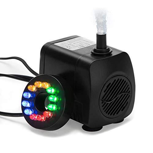 AISOO Mini Pompa per Acquario Sommergibile, Pompe Acquari Flusso d'Acqua 10W Basso Consumo 400L/H Efficiente Pompe per Sistemi Idroponici Esterni Fontana Pompe+12 LED Lampadine