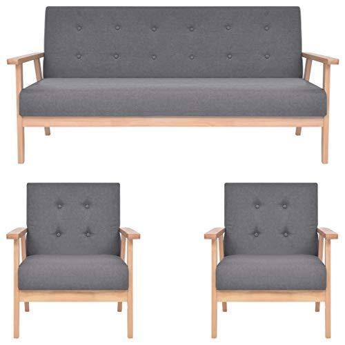vidaXL Sofa 3-TLG. Sofagarnitur Sessel Couch Polstersofa Couchgarnitur Loungesofa Stoffsofa Polstergarnitur Sitzmöbel Stoff Dunkelgrau