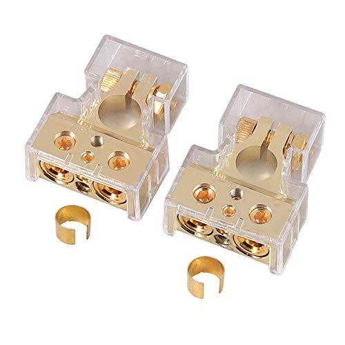 ESYNiC 2pz Connettori Terminali Positivi e Negativi con 2 Rondelle Distanziatori Paio Morsetti Batteria Auto in Metallo con Coperchio Protettivo Entrata 0/2/8 Gauge AWG per Batteria Auto - Oro