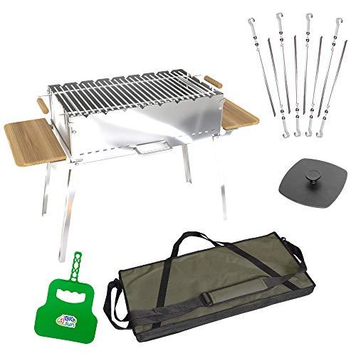 Houtskoolbarbecue, inklapbaar van roestvrij staal (2 mm) incl. grillrooster, 8 spiesen, grillpers, grillvakken en tas - grill met zijplateaus van natuurlijk hout - mangal voor 8 spiesen, voor sjasliek, BBQ (klapgrill)