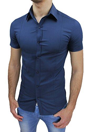 AK collezioni Camicia Uomo Slim Fit Blu Aderente Elasticizzata Manica Corta Casual (L)