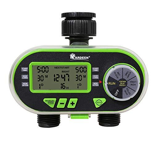 Yardeen 2 Outlet Garden Digital Electronic Water Timer Irrigation Controller for Garden Yard, Green