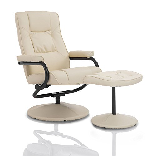 HOMCOM Executive Recliner Chair High Back Swivel Armchair Lounge Seat w/Footrest Stool (Cream)