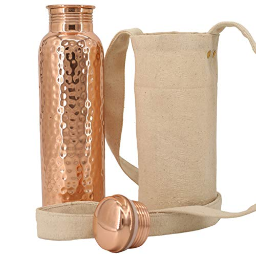 Kitchen Science Ayurvedic 950 ml Pure Copper Water Vessel. Artisan Handcrafted Copper Bottle with Bonus Carrying Bag