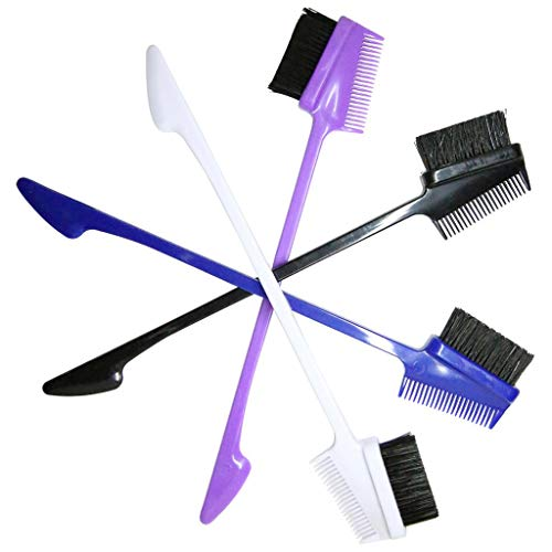 Injoyo 2 En 1 Travel Edge Control Brush Comb Double Pinceau De Toilettage Pour Sourcils Latéraux 4x