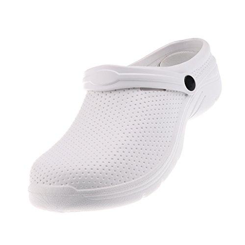 oshhni Profesional Unisex Hombres Mujeres EVA Zapatos Antideslizantes Zuecos de Trabajo - Blanco, UE 41