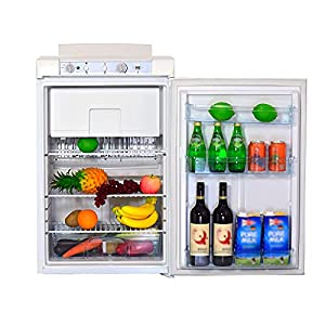 Smad Mini Réfrigérateur Camping avec Congélateur, Frigo Trimixte 12V/220V/Gaz, Frigidaire Silencieux pour Caravane, Camping-car, RV, Fourgon, Camion, 100L, Blanc