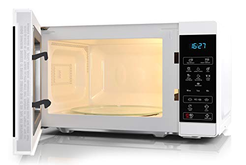SHARP YC-MS02EW Mikrowelle mit Auftaufunktion/ 800 Watt/ 20 Liter/ 11 Leistungsstufen/ECO/Timer-Funktion/Kindersicherung/Inkl. Drehteller, Displaysteuerung