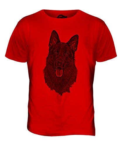 Diseño de Perro Pastor alemán/Pastor alemán Sketch con impresión de colibríes y T-Camiseta de Manga Corta de Costura para Camisetas de Mujer para Hombre