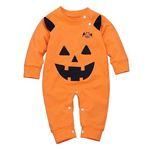 XLGX Une Pièce de Bébé Citrouille Halloween Cosplay Manches Longues Vine Pyjama Bébé Fille Garçon Grenouillère Combinaisons en Coton Bouton à Manches Longues Chaud Pyjama 0-2 Ans (80, Orange)