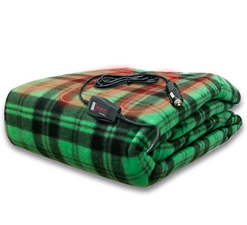 Zento Deals Green Plaid Electric Heated Car 12V Blanket- Polar Fleece Material Blanket - Cold Days and Nights Road Trip, Home and Camping, Safer Nonflammable Wiring and Fabric