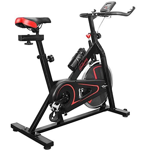 Physionics Bici da Spinning - con Volano d'Inerzione da 10 kg, Display velocità, Tempo, Calorie, Sedile e Manubrio Regolabili, Allenamento Cardio - Bicicletta Spinning, Cyclette, Bici da Fitness