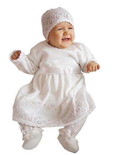 deine-Brautmode Babykleid Taufkleid Strickkleid Festkleid Baby Taufe Kleid gestrickt, ELSA 68